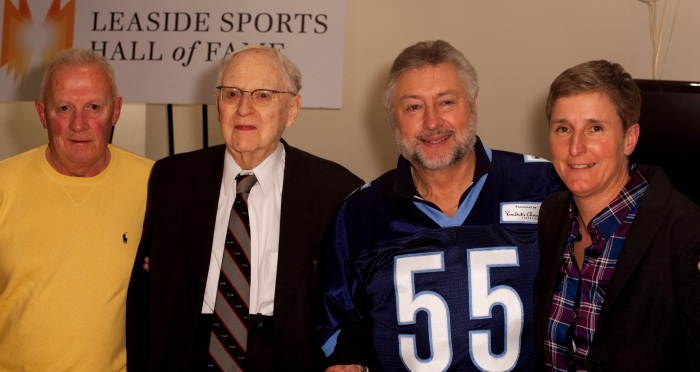 2014 Leaside Sports Hall of Fame Inductees (from left):  Terry Caffery (accepting for brother, Jack Caffery), Dr. Sidney Soanes, Peter Krol (accepting for father, Joe Krol) and Christine Pellerin